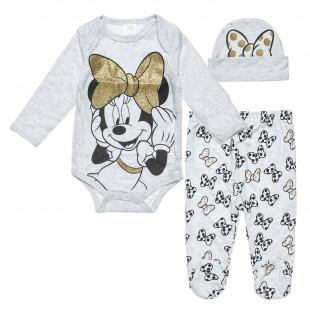 Σετ 3τμχ φορμάκι-παντελονάκι-σκουφάκι Disney Minnie Mouse (0-3 μηνών)