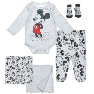 Σετ 5τμχ Disney Mickey Mouse φορμάκι-παντελονάκι-καλτσάκια-2 σεντονάκια αγκαλιάς (0-3 μηνών)