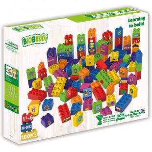 """Blocksa BIOBUDDI eco """"Learning to build"""" 100 pcs (1,5-6 ετών)"""