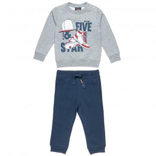 Σετ φόρμας Five Star μπλούζα με τύπωμα sneackers και παντελόνι (12 μηνών-5 ετών)
