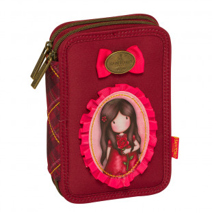 """Pencil case with double zipper and slots Santoro """"A Single Rose"""""""