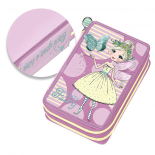 """Pencil case with double zipper and slots """"Cute Fairy"""""""