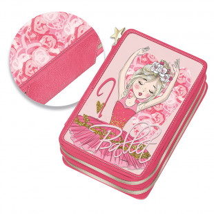 """Pencil case with double zipper and slots """"Ballet"""""""