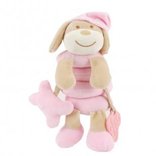 Spiral toy for pram pink dog