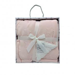 Blanket fleece with pink stars pattern (80x110)