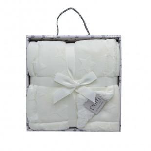 Blanket fleece with white stars pattern (80x110)