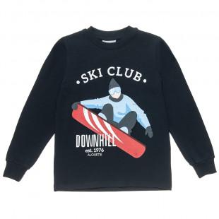 "Long sleeve top with print ""Ski club"" (6-16 years)"