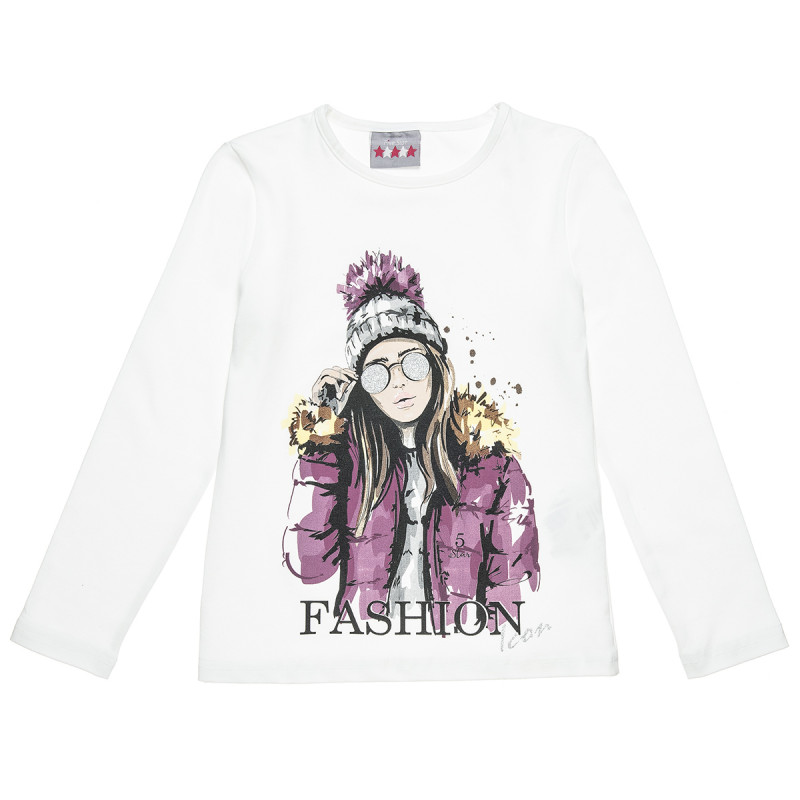 """Long sleeve top """"Fashion icon"""" with glitter detail (6-16 years)"""
