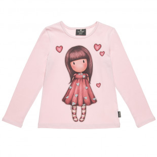 Long sleeve top with glitter hearts (6-14 years)