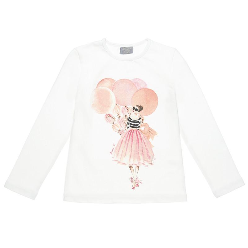 Μπλούζα με τύπωμα μπαλαρίνα και glitter (6-16 ετών)