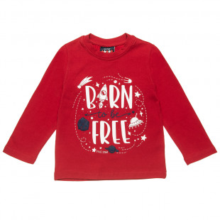 """Long sleeve top Five Star with print """"Born to be free"""" (12 months-5 years)"""
