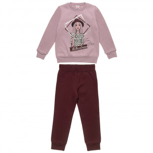 Tracksuit Five Star top with foil print and pants (6-14 years)