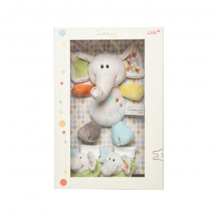 Gift Set plush toy elephant and baby booties with rattle (0+ months)