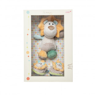 Gift Set plush toy lion and baby booties with rattle (0+ months)