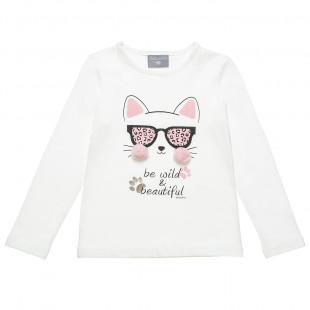 Long sleeve top with print and pom pon details (18 months-5 years)