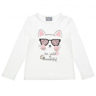 Μπλούζα με σχέδιο γατούλα με πομ πον λεπτομέρεια (18 μηνών-5 ετών)
