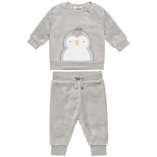 Σετ βελουτέ μπλούζα με πιγκουινάκι και παντελόνι (3-12 μηνών)