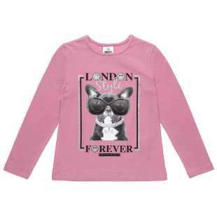 """Long sleeve top Smiley with glitter detail print """"London style"""" (5-12 years)"""
