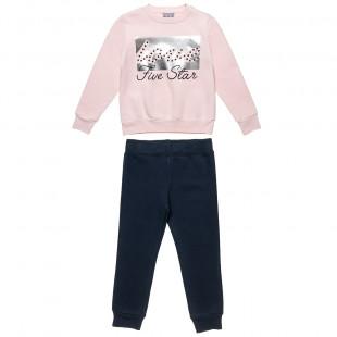 Σετ φόρμας Five Star μπλούζα με ασημί foil και παντελόνι (6-16 ετών)
