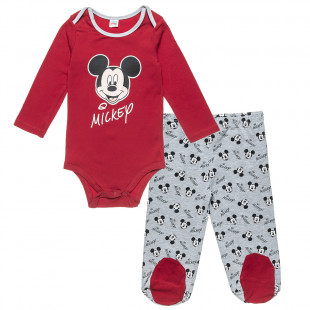 Set Disney Mickey Mouse babygrow with pants (3-12 months)