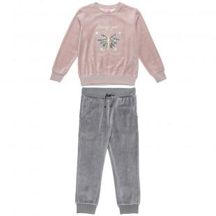 Σετ φόρμας βελουτέ μπλούζα διπλές παγιέτες και παντελόνι (6-14 ετών)
