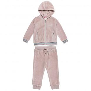Σετ φόρμας βελουτέ ζακέτα με κέντημα και παντελόνι (2-5 ετών)