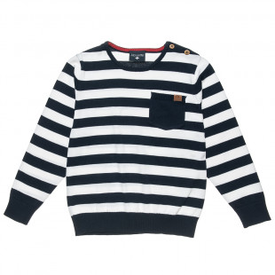 Sweater with stripes and pocket (6-14 years)