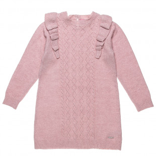 Dress knitted with frilled shoulders (2-5 years)