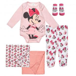 Σετ 5τμχ Disney Minnie Mouse φορμάκι, παντελονάκι, καλτσάκια, 2 σεντονάκια αγκαλιάς (0-3 μηνών)