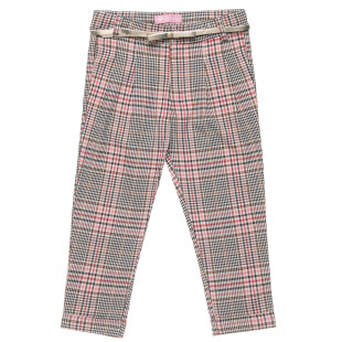 Pants with check design and belt (6-14 years)