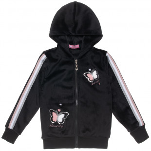 Zip hoodie velour with embroidery (6-16 years)