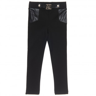Leggings with leather effect details (6-16 years)