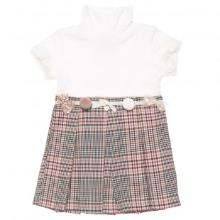 Dress with pom pon and little bows (2-5 years)