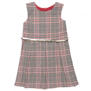 Dress with check design and belt (6-12 years)